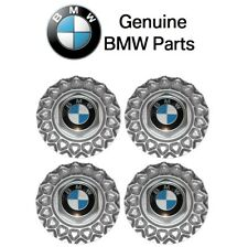 For BMW E28 E30 E34 318 325 M3 M5 Set Of 4 Cross Spoke Wheel Center Caps Genuine