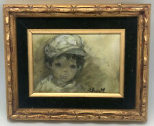 Small Mid Century Original Painting Boy With Hat Illegibly Signed