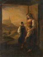 Junge Mutter mit Kindern am Scheunentor, 19.Jhd., Öl