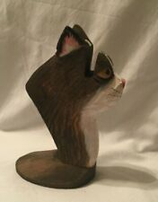 """PEEPERS CAT EYEGLASS HOLDER HAND CARVED WOOD 6.5"""" x 3.5"""""""