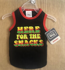 """New ListingSimply Wag - X Small - New Puppy Dog Apparel Black Shirt """"Here For The Snacks"""""""
