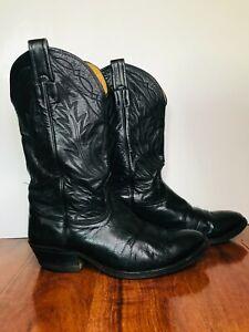 Vintage Nocona Western Cowboy Boots, Black Size 8.5 EE EXCELLENT