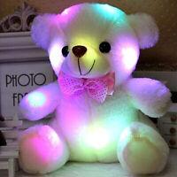 1X Lovely Kid Birthday Gift Light Up LED Bear Stuffed Animal Plush Toy US