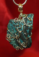 Chrysocholla wire wrap sp snake chain necklace natural stone pendant #403