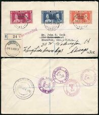 COOK ISLANDS 1937 CORONATION SET on REGISTERED ENV..FORWARDED HS in RED ILLINOIS