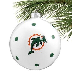 "MIAMI DOLPHINS Ornament Polka Dot Glass Ball Large Sz Christmas 4"" Vintage Logo"
