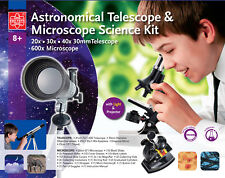 Experimentierset Teleskop 20-40x Mikroskop 600x Beleuchtung Zubehör