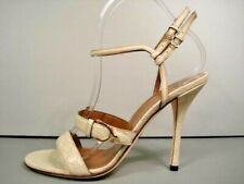 GUCCI 38.5/8.5 IVORY GG GUCCISSIMA LEATHER ANKLE STRAP SANDALS HEELS AUTHENTIC