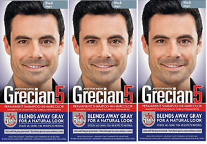 Grecian 5 for Men, 5 Minute Permanent Shampoo-In Haircolor, Black (3 Pack)
