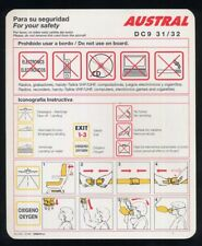 AUSTRAL Aerolineas Argentina SAFETY CARD DC 9 31 / 32 airline brochure ee e695