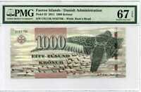 FAEROE ISLANDS 1000 KRONUR 2011 P 33 SUPERB GEM UNC PMG 67 EPQ