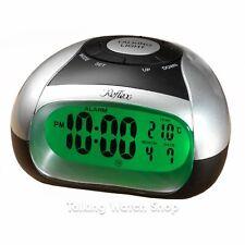 Reflex Talking Alarm Clock with Temperature Announcement, Silver/Black