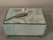 French Themed Jewelry Box Wood and Glass Footed Carte Postale Three Hands Corp