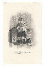 JENÖ KOSZKOL: Exlibris für Lajos Csuka, Dienstmädchen lesend auf Schreibtisch