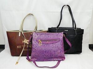 Auth ETRO 3 Paisley Bag Set Tote Bag Shoulder Bag Black/Brown/Purple - AUC0257
