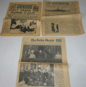 Original WW2 Newspapers x3 Daily Sketch Sunday Graphic 1940 43 & 45 Italy at war
