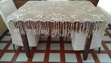Tovaglia antica rettangolare filet lino cm 130x100+23 frange