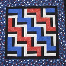 """Fence Rail Quilt Top ~Patchwork -Pieced """"Patriotic Spirit 2"""" Baby,Wall, Lap 39"""""""