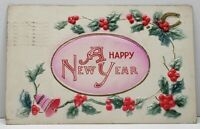 Happy New Year Airbrushed Hollyberry Embossed 1911 Postcard G15