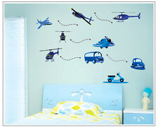 Wandtattoo wandaufklebe kinder Kinderzimmer flugzeug  hubschauber c001