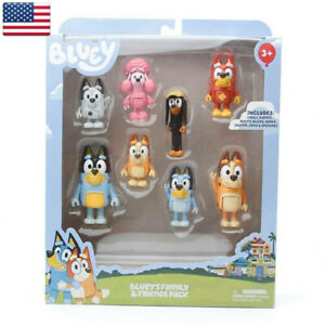 8 pcs/set Bluey's Family&Friends Action Figure For Children Collection Gifts