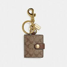 NEW!! COACH KHAKI PICTURE FRAME BAG Backpack Charm KeyChain SIGNATURE CANVAS
