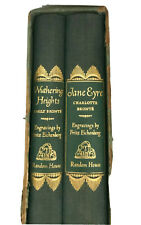 Vintage 1943 Box Set Leather Bound Books Wuthering Heights & Jane Eyre FS!