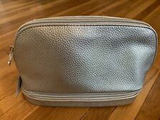 Macy's Silver Dual Zipper Makeup Bag NEW