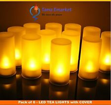 6 x Yellow LED Tea Candles Light Flameless with Cover Flicker Wedding Party