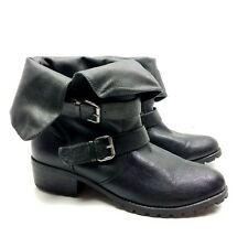 dv dolce vita boots booties black vegan foldover buckle rugged sole women's 11