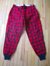 True Vintage Woolrich Mackinaw Red Black Buffalo Plaid Wool Hunting Pants Size ?