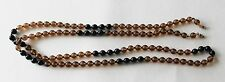 """Vintage Round Brown Glass & Black Onyx Beads 43"""" Long Necklace"""