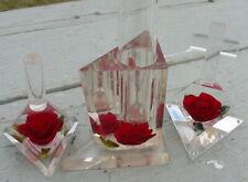Vintage Bircraft Red Rose Lucite Acrylic Vase Ring Holder Cross Glass Vase Old