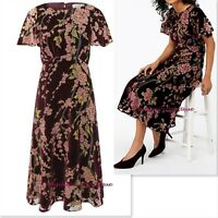 MONSOON DANIELLA BERRY & PINK FLORAL DEVORE VELVET OCCASION DRESS SIZE 8-12 NEW