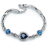 New Fashion Titanic Elegant Women Lady Ocean Crystal Heart Bangle Bracelet Gift