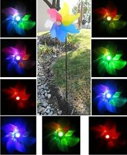 Solar Powered Windmill Spinner Landscape Garden Stake Color Changing LED Light