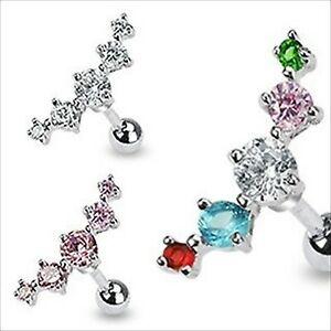"""1 PIECE 16g 1/4"""" Tragus Helix Cartilage Barbell 5 Round CZ Gem Earring UPK Color"""