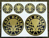CAFE RACER GOLD Chequered Flag logo set stickers decals