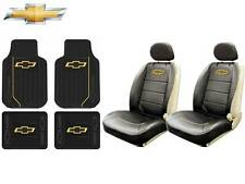 8 Pc Chevrolet Chevy Elite Seat Covers Syn Leather & Front/Rear Rubber Floor Mat