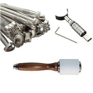 Leather Working Tools Set Puncher Stamp Carving Craft + Hammer + Swivel Knife