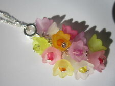 16 inch Silver Plated Necklace & Pendant - Multi-coloured Spring Flowers