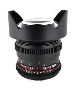 Rokinon 14mm T3.1 Cine Wide Angle Lens w/De-Clicked Aperture For Nikon F