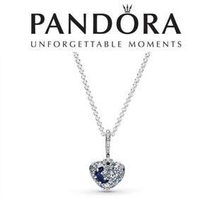 Pandora Sparkling Blue Moon & Stars Heart Necklace  50cm
