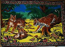 "Vintage Tiger Family 100% Tapestry - Wall Hanging/Rug - 56"" x 37"" - Turkey"