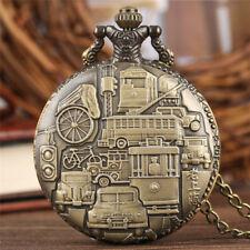 Antique Christian/Batman/Battleship Pocket Quartz Watch Pendant Necklace Chain