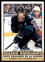 2020-21 UD O-Pee-Chee Retro Season Highlights 592 Joe Thornton San Jose Sharks