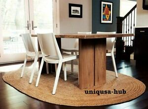 oval rug 100% natural jute braided handmade reversible area carpet rustic rug