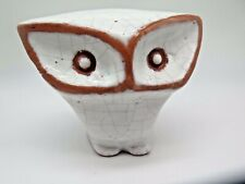Vintage Owl by Known Artist Carlos Vizeu Portugal Crackle Glazed Terracotta
