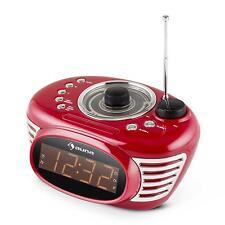 VINTAGE RADIO WECKER UHR 50ER ROCKABILLY CHROME DESIGN DUAL ALARM SLEEP UKW LED