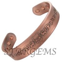 PURE COPPER CUFF BANGLE MAGNETIC ARTHRITIS AID BRACELET PAIN RELIEF HEALING GIFT